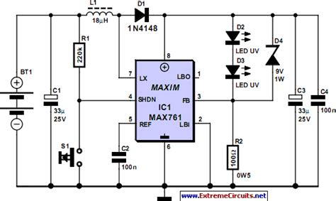 circuit diagram of a torch uv torch light circuit diagram