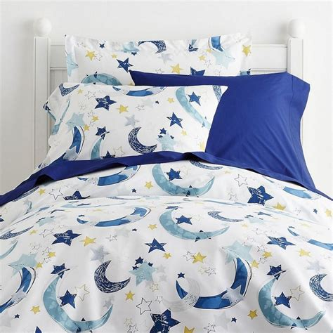 shop bedding moon stars percale kids sheets set blue the company