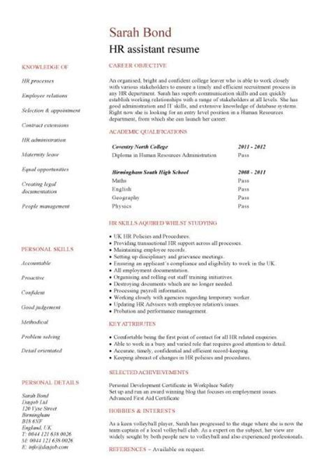 Human Resource Resume by Hr Assistant Cv Template Description Sle