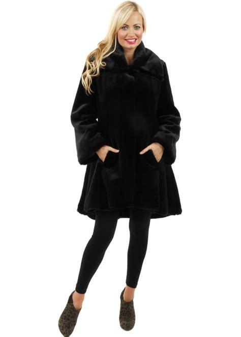 faux fur swing coats marble marble faux fur coat black peplum swing coat