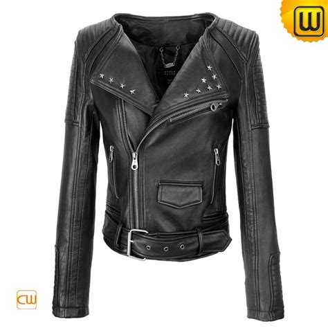 womens black moto women black leather motorcycle jackets cw608119