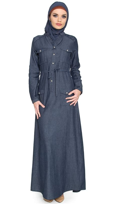 design dress hijab womens denim islamic maxi dress with free hijab abayas