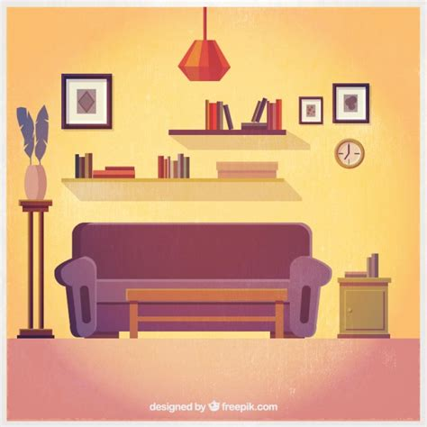 lovely living room interior vector free