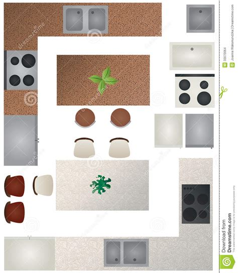 kitchen furniture plans floor plan kitchen collection stock vector image 33070064
