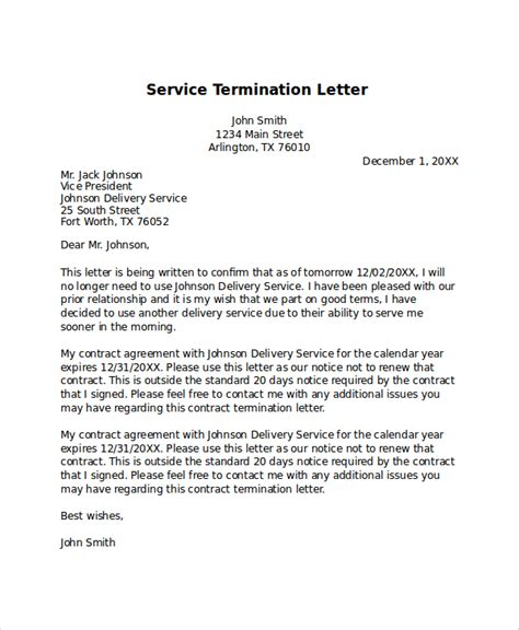 termination letter for a service sle termination letter 7 documents in pdf word