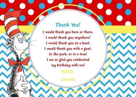 Cat In The Hat Thank You Cards cat in the hat inspired printable thank you cards