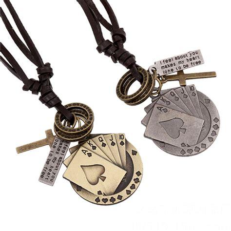 vintage leather mens pendant necklace korean jewelry