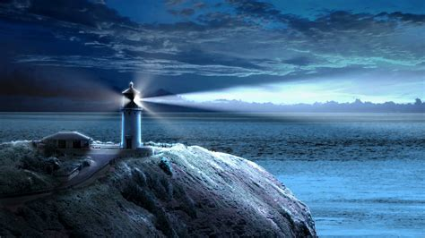 light house at looping animation with a lighthouse beaming light out to