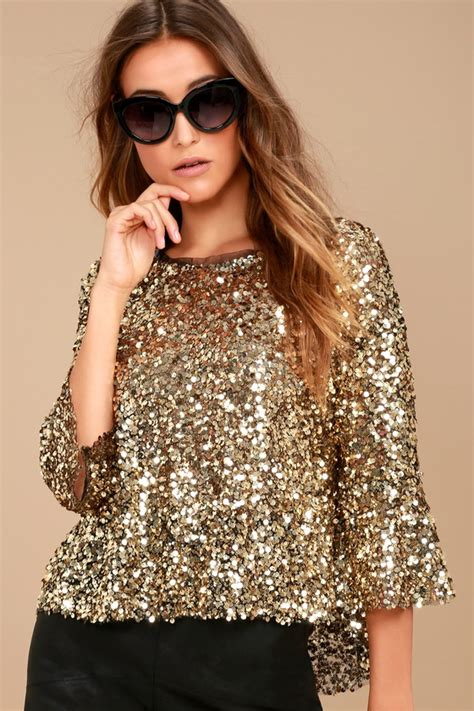 Squin Top by Stunning Gold Top Sequin Top Three Quarter Sleeve Top
