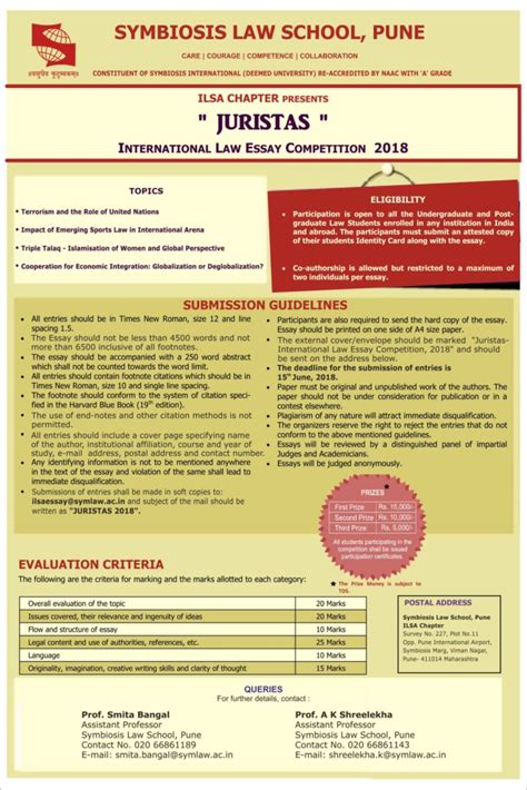 Symbiosis Mba Form by Juristas Essay Competition By Symbiosis School Pune