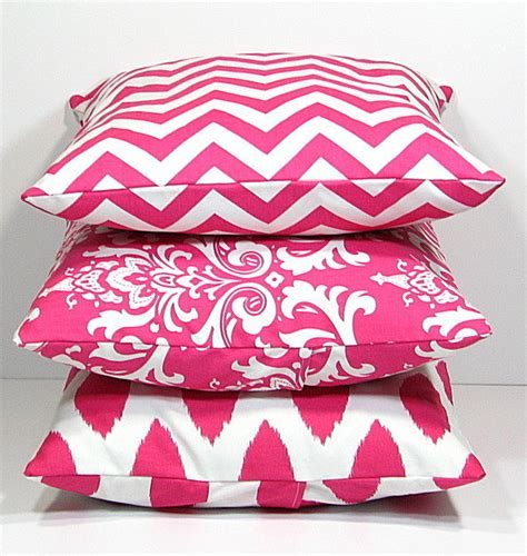 pink patterned cushions hot pink pillows decorative pillows trio by