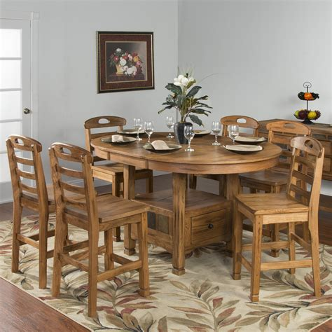 Oak Dining Sets Sedona Rustic Oak 7 Dining Set By Designs