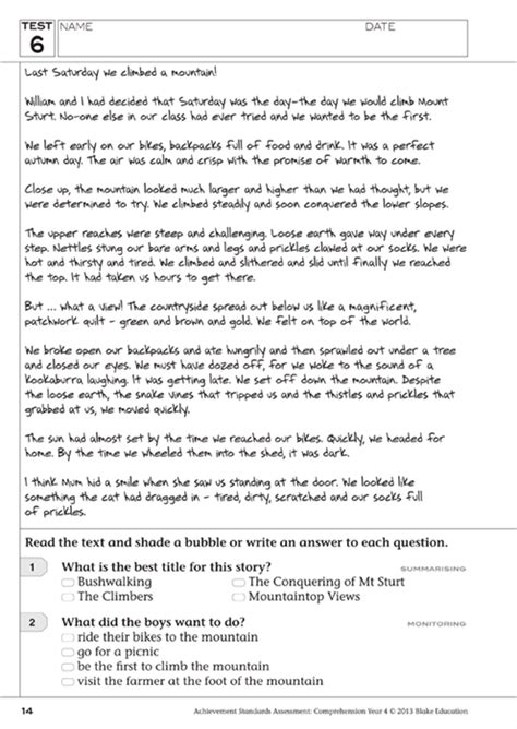 reading comprehension tests y4 downloadable pdf achievement standards assessment