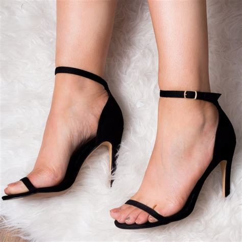 sandals high heels pretty black strappy sandals shoes from spylovebuy