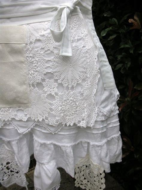 aprons white lace apron shabby chic aprons by anniesattic