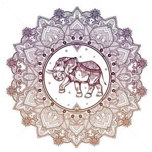 Paisley mandala with elephant inside decorative symbols decorative