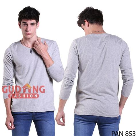 Kaos Panjang Pria Abu Muda Pan 833 t shirt o neck lengan panjang slim spandek abu muda pan