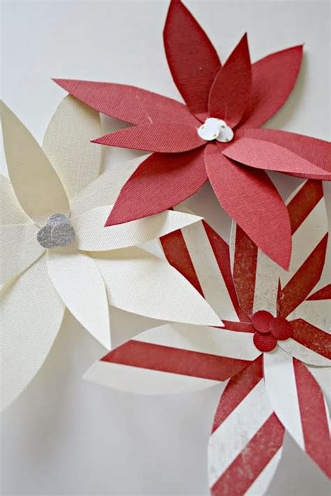 Poinsettia Paper Craft - paper poinsettia ornament tutorial u create