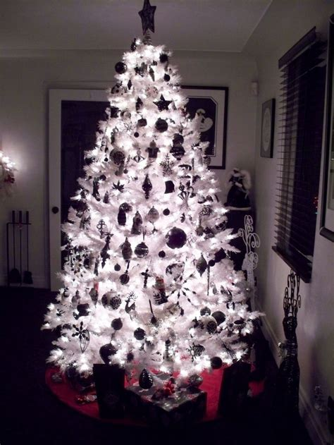 black and white christmas tree night time black