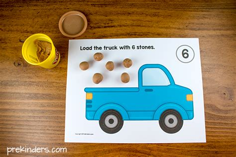 printable playdough counting mats load the trucks play dough counting mats prekinders