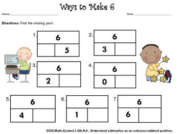 Composing And Decomposing Numbers Worksheet Grade by Find The Missing Part Compose And Decompose Numbers To 10