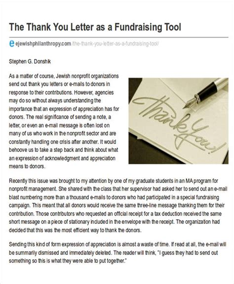fund raiser thank you letter sle nonprofit thank you letter teacheng us