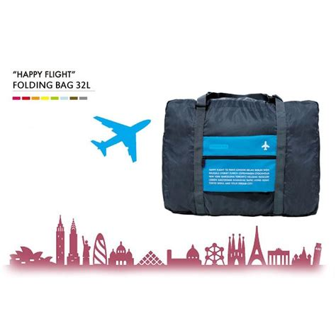 Fs Tas Selempang Happy Flight Folding Bag Foldable Travel Bag happy flight folding bag foldable travel bag carry tas lipat a377 elevenia