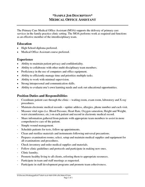 Assistant Duties For Resume by Office Assistant Description Sle Recentresumes