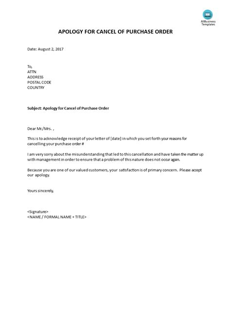 apology letter to supplier for cancellation of order apology cancelling purchase order templates at