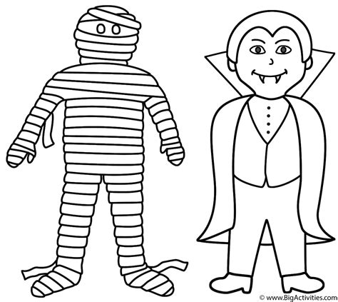 mummy with vire coloring page halloween