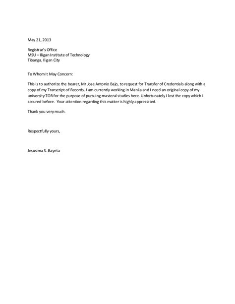 authorization letter for request of transcript of records marquessante authorization letter sle