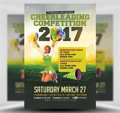 Cheerleading Competition 2017 Flyer Template Flyerheroes Cheerleading Flyer Template