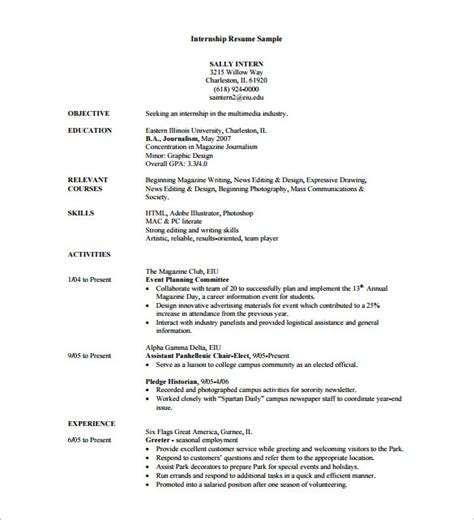 Internship Cv Template by Internship Resume Template 11 Free Word Excel Pdf