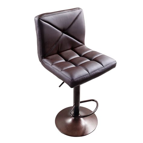 adjustable swivel leather bar stools set of 2 brown pu leather modern adjustable swivel