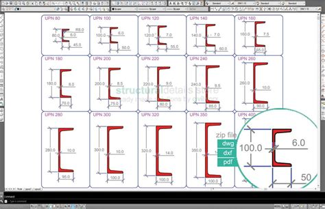 Drawing Channels by European Standard Channel Upn Steel Sections Dwg Cad Drawings