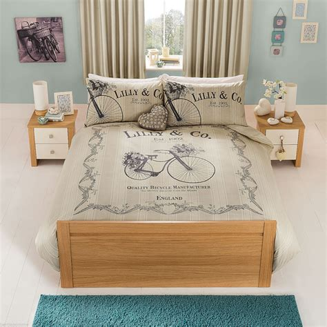 vintage shabby chic bicycle single duvet cover set bedding
