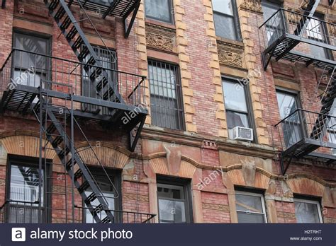 appartments in york old red brick apartment building in new york city stock