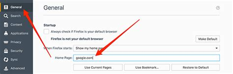 how to change homepage in various web browsers on mac