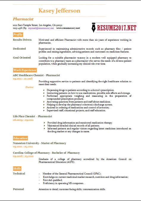 pharmacist cover letter template resume example pharmacist