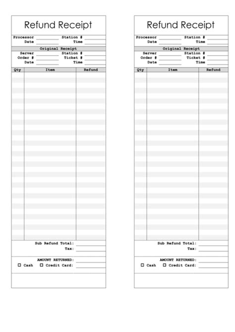 credit card refund receipt template refund receipt template printable pdf