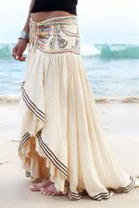 Sexy long modern gypsy style embellished skirt for a boho chic look