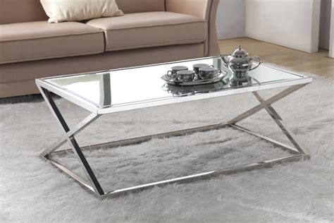 stainless steel glass coffee table stainless steel coffee table 8mm tempered mirror glass