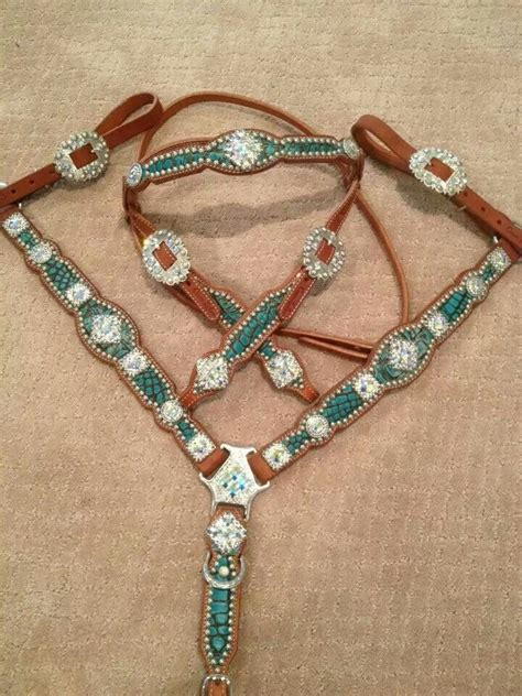 Set As Greeny croc set by crown leather tack set headstall