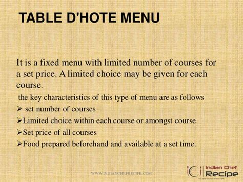 Table D Hôte by Different Between Table D Hote And A La Carte Menu