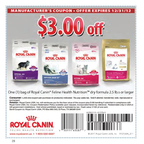 Royal Canin Printable Coupon coupon cottage 3 00 royal canin cat food coupon