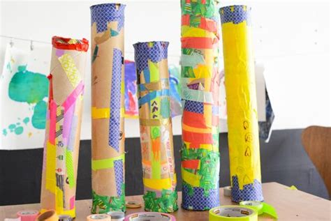 How To Make A Rainstick With A Paper Towel Roll - sticks and washi on