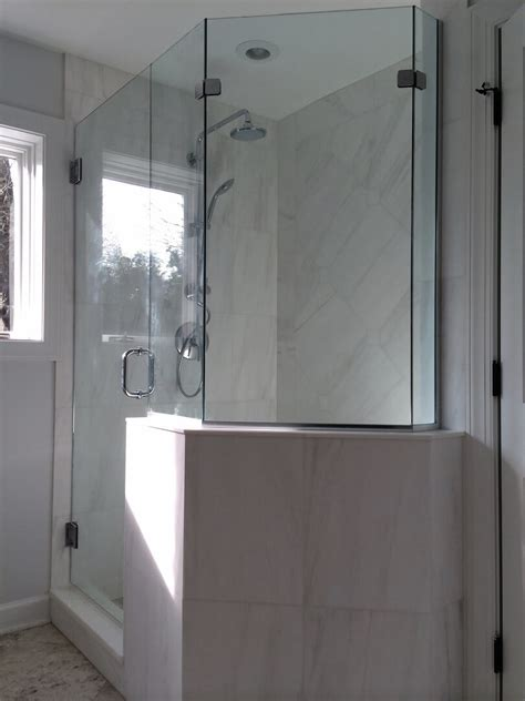 glass shower door half wall frameless neo angle shower enclosures