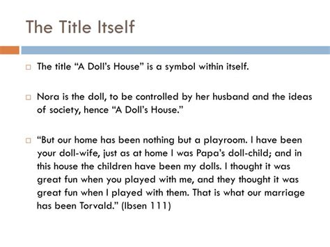 a dolls house symbols ppt symbolism in a doll s house powerpoint presentation id 1961576