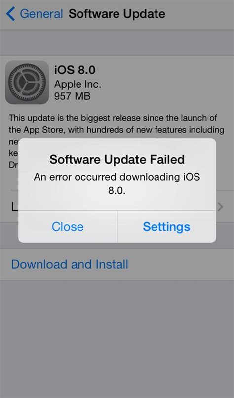 how to update and install ios 8 iphone ipad ipod touch software update failed and server could not be