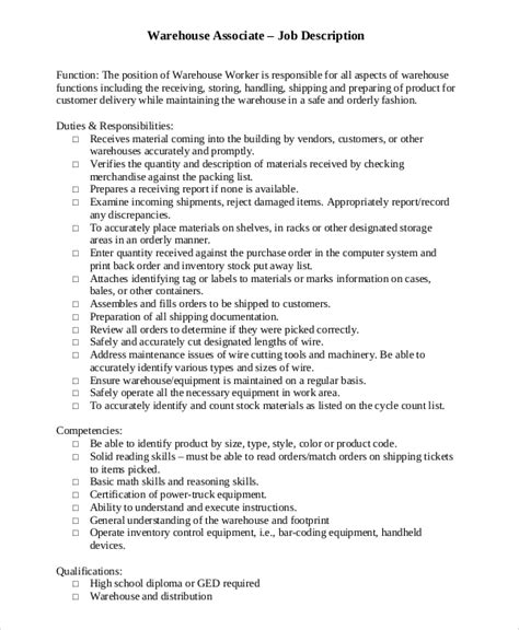 Warehouse Associate Description sle warehouse description 10 exles in pdf word